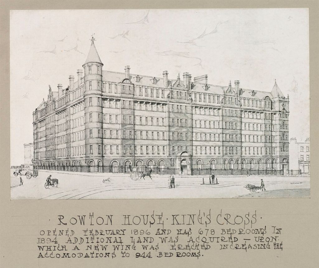 Housing, Improved: Great Britain, England. London. Rowton House: Improved Housing: London: Model Lodging Houses For Single Men, Erected In London By Lord Rowton & Co-Subscribers 1892-1905, Dividends Of 4% Are Paid On The Investment Of £450,000 (1909): Rowton House Kings Cross. Opened February 1896 And Has 678 Bedrooms.  In 1894 Additional Land Was Acquired - Upon Which A New Wing Was Erected Increasing The Accomodations To 944 Bedrooms.