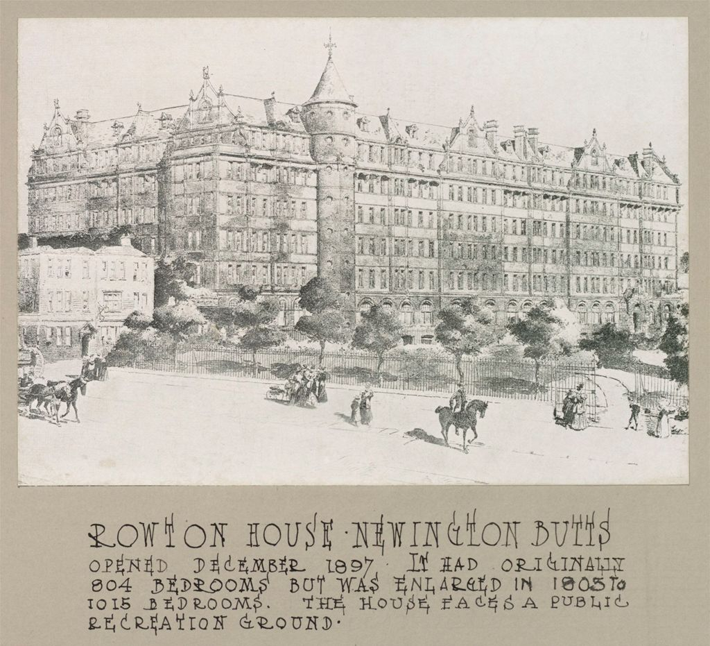 Housing, Improved: Great Britain, England. London. Rowton House: Improved Housing: London: Model Lodging Houses For Single Men, Erected In London By Lord Rowton & Co-Subscribers 1892-1905, Dividends Of 4% Are Paid On The Investment Of £450,000 (1909): Rowton House Newington Butts.  Opened December 1897. It Had Originally 804 Bedrooms But Was Enlarged In 1903 To 1015 Bedrooms.  The House Faces A Public Recreation Ground.