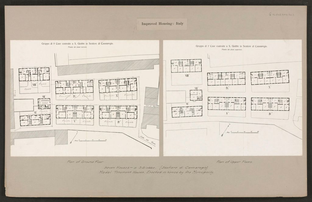 Housing, Improved: Italy: Venice: Municipal Tenements: Improved Housing: Italy: Seven Houses - A S. Giobbe. (Sestiere Di Cannaregio) Model Tenement Houses Erected In Venice By The Municipality