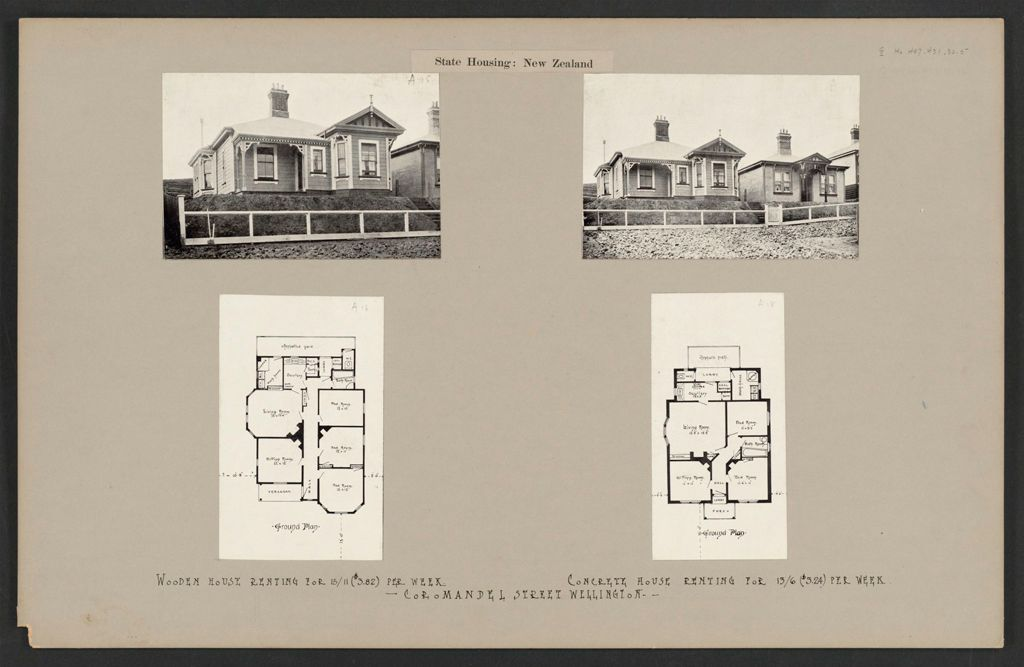 Housing, Improved: New Zealand. Wellington. Cottages Erected By The Government (Minister Of Labour): State Housing: New Zealand: Coromandel Street Wellington.