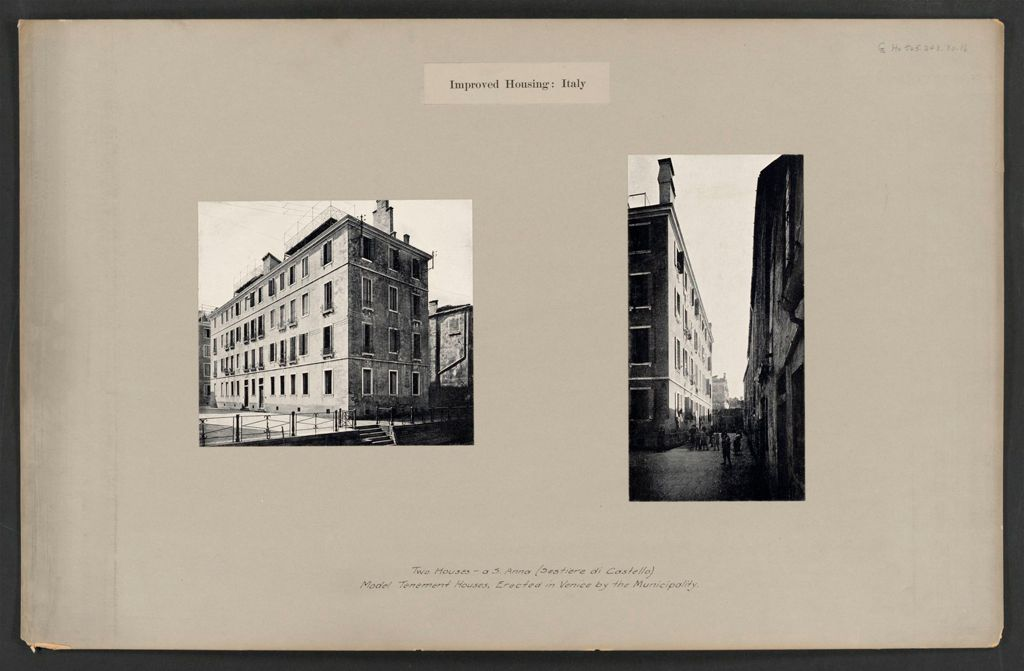 Housing, Improved: Italy. Venice. Municipal Tenements: Improved Housing: Italy: Two Houses - A S. Anna (Sestiere Di Castello.) Model Tenement Houses, Erected In Venice By The Municipality.