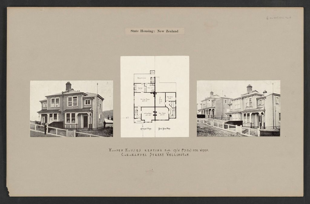 Housing, Improved: New Zealand. Wellington. Cottages Erected By The Government (Minister Of Labour): State Housing: New Zealand: Wooden Houses Renting For 13/4 ($3.20) Per Week. Coromandel Street Wellington.