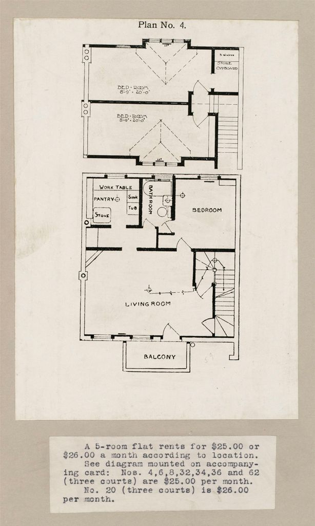 Housing, Industrial: Canada. Ontario. Toronto. Toronto Housing Company: Cottage Flats: Row Dwellings: Plan No. 4: A 5-Room Flat Rents For $25.00 Or $26.00 A Month According To Location.  See Diagram Mounted On Accompanying Card: Nos. 4, 6, 8, 32, 34, 36 And 62 (Three Courts) Are $25.00 Per Month.  No. 20 (Three Courts) Is $26.00 Per Month.