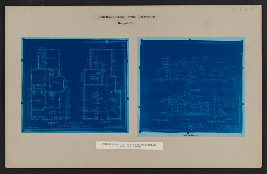 Housing, Industrial: United States. Alabama. Fairfield. Tennessee Coal, Iron And Railroad Company: Industrial Housing Frame Construction Bungalows: The Tennessee Coal, Iron And Railroad Company Fairfield, Alabama