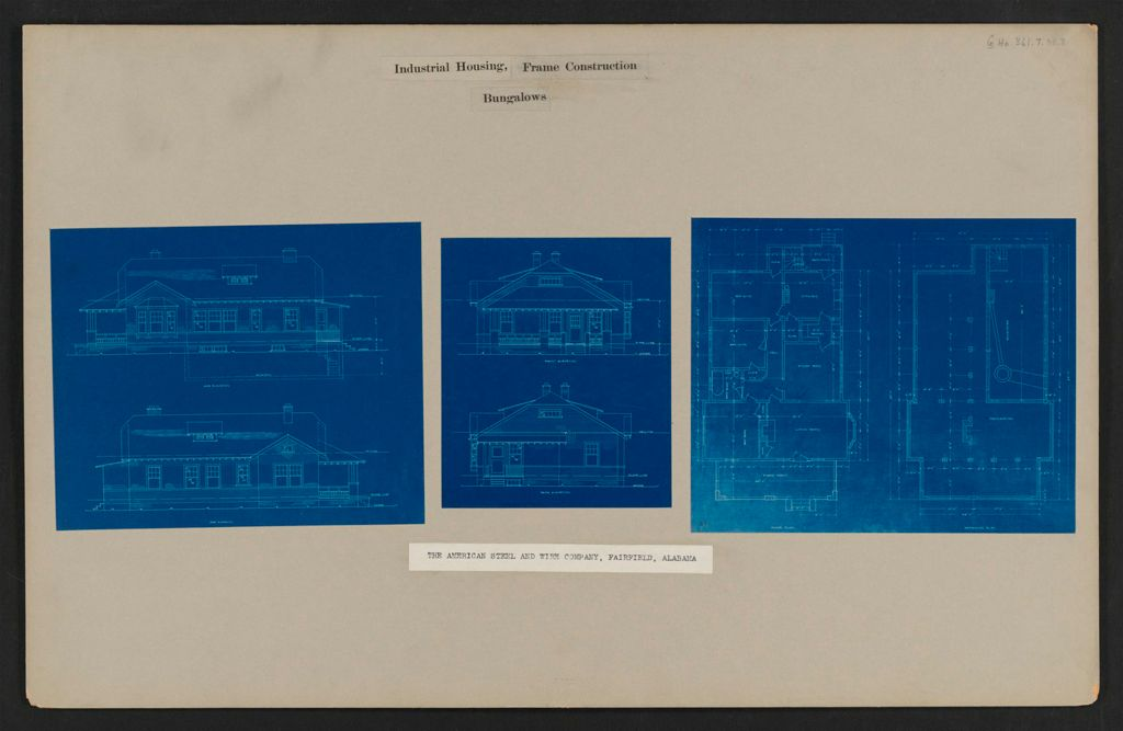 Housing, Industrial: United States. Alabama. Fairfield. American Steel And Wire Company: Industrial Housing, Frame Construction Bungalows: The American Steel And Wire Company, Fairfield, Alabama