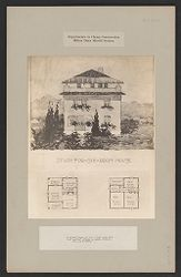 Housing, Industrial: United States. Virginia. Virginia Highlands: Experiments in Cheap Construction. Milton Dana Morrill System: Study for six-room house: A poured house of the 6 room type with roof garden? Built to sell, without lot, at $2500..   Social Museum Collection