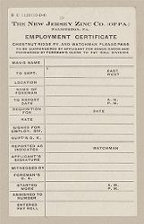 Housing, Industrial: United States. Pennsylvania. Palmerton: New Jersey Zinc Company: The New Jersey Zinc Co. (of PA.) Palmerton, PA.: Employment Certificate.   Social Museum Collection