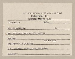 Housing, Industrial: United States. Pennsylvania. Palmerton: New Jersey Zinc Company: The New Jersey Zinc Co. (of PA.) Palmerton, Pa.: Identification Slip.   Social Museum Collection