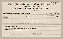 Housing, Industrial: United States. Pennsylvania. Palmerton: New Jersey Zinc Company: The New Jersey Zinc Co. (of PA.) Palmerton, PA.: Employment Requisition.   Social Museum Collection