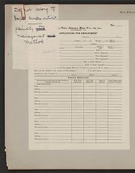 Housing, Industrial: United States. Pennsylvania. Palmerton: New Jersey Zinc Company: The New Jersey Zinc Co. (of PA.) Palmerton, PA.: Application for Employment.   Social Museum Collection