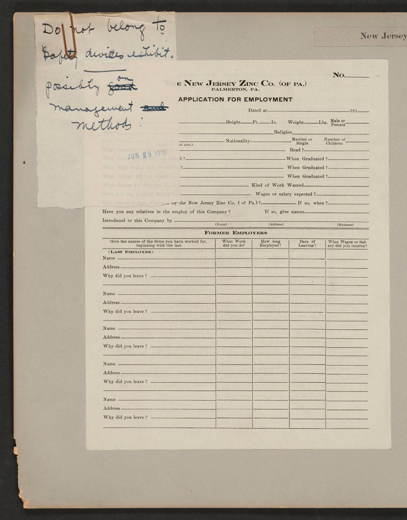 Housing, Industrial: United States. Pennsylvania. Palmerton: New Jersey Zinc Company: The New Jersey Zinc Co. (Of Pa.) Palmerton, Pa.: Application For Employment