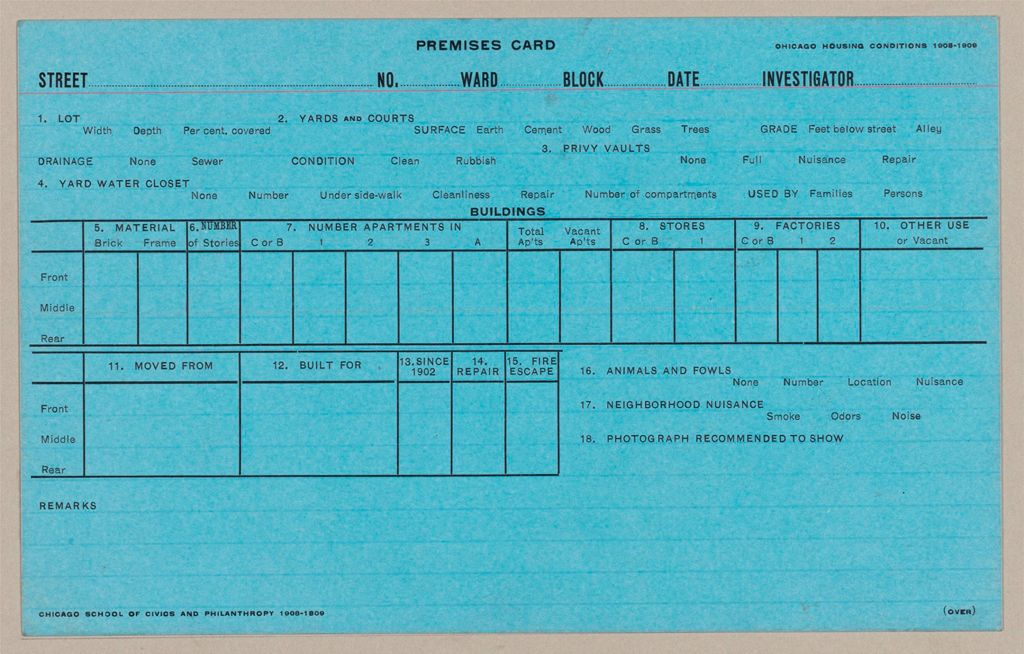 Housing, Government: United States. Illinois. Chicago: Schedules Used In Investigation Of Housing Conditions, Chicago, Ill.: Premises Card