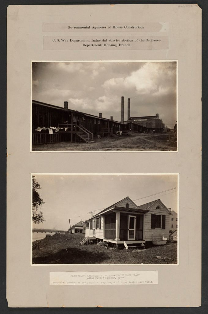 Housing, Government: United States. Maryland. Perryville: Governmental Agencies Of House Construction. U.s. War Department, Industrial Service Section Of The Ordnance Department, Housing Branch: Perryville, Maryland; U.s. Ammonium Nitrate Plant, Atlas Powder Company, Agent. Remodeled Bunkhouses And Portable Bungalow; 9 Of These Latter Were Built.