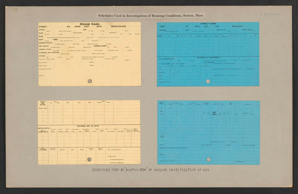 Housing, Government: United States. Massachusetts. Boston: Schedules Used In Investigation Of Housing Conditions, Boston, Mass.: Schedules Used By Boston 1915 In Housing Investigation Of 1910