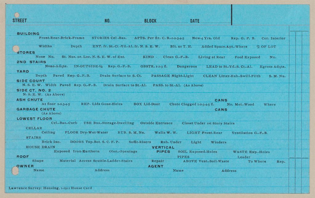 Housing, Government: United States. Massachusetts. Lawrence: Schedules Used In Investigation Of Housing Conditions, Lawrence, Mass.: House And Premises Card