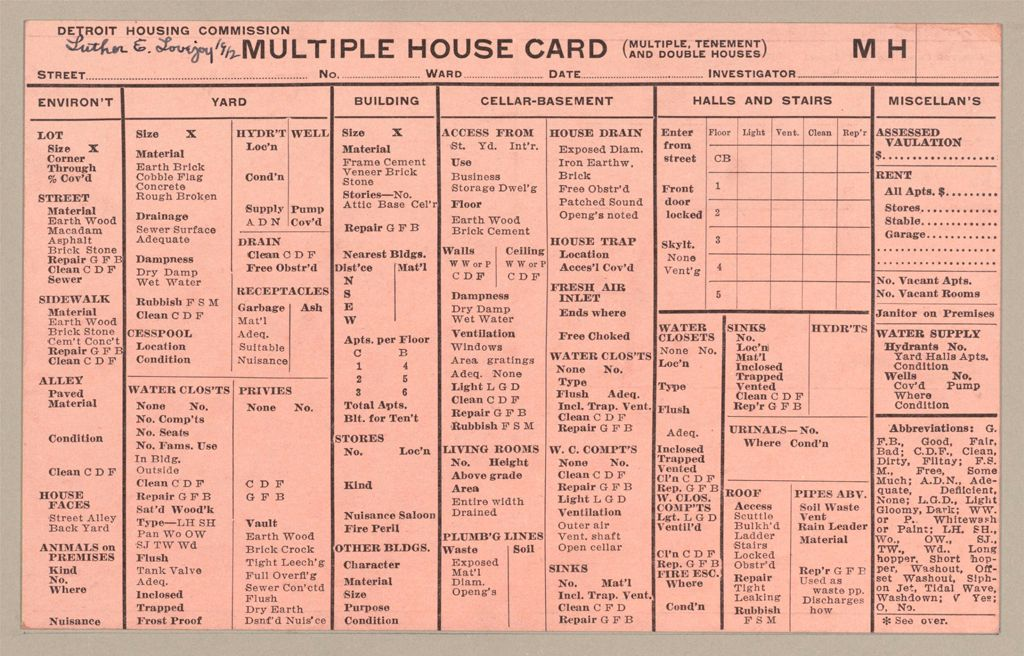 Housing, Government: United States. Michigan. Detroit: Schedules Used In Investigation Of Housing Conditions, Detroit, Mich.: Multiple House Card