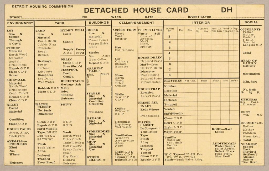 Housing, Government: United States. Michigan. Detroit: Schedules Used In Investigation Of Housing Conditions, Detroit, Mich.: Detached House Card