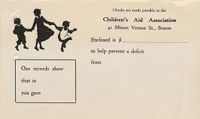 Charity, Organizations: United States. Massachusetts. Boston. Publicity For Social Work. (1) Letter Heads. (2) Inserts. (3) Subscription Blanks: Checks Are Made Payable To The Children's Aid Association