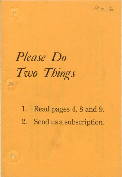 Charity, Organizations: United States. Massachusetts. Boston. Publicity For Social Work. (1) Letter Heads. (2) Inserts. (3) Subscription Blanks: Please Do Two Things: 1. Read Pages 4, 8 And 9. 2. Send Us A Subscription: The Church Home Society