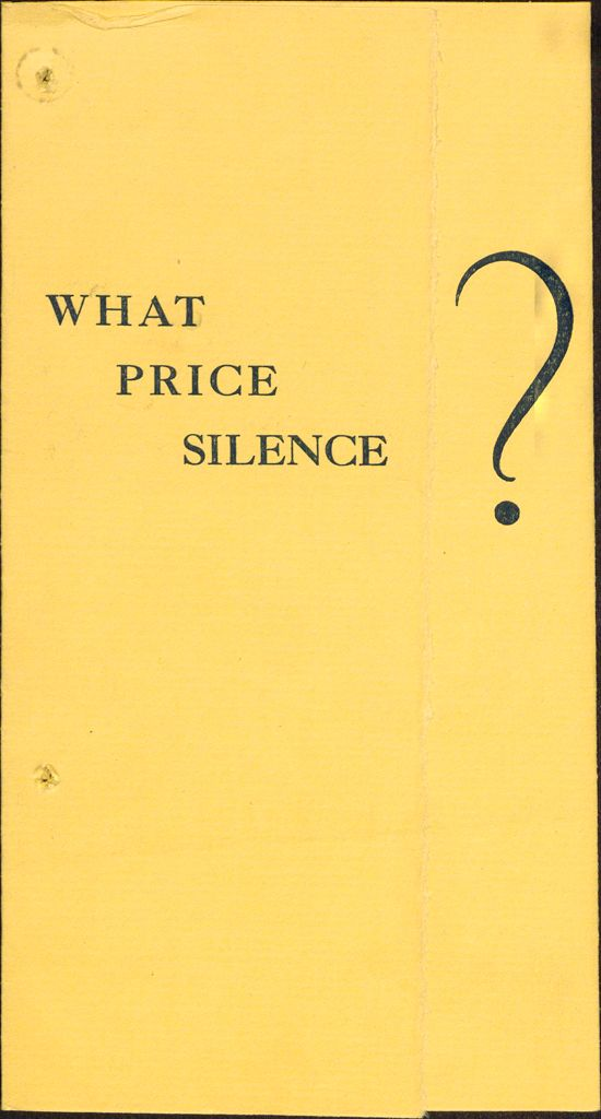 Charity, Organizations: United States. Massachusetts. Boston. Publicity For Social Work. Leaflets & Folders: What Price Silence?: The Massachusetts Society For Social Hygiene