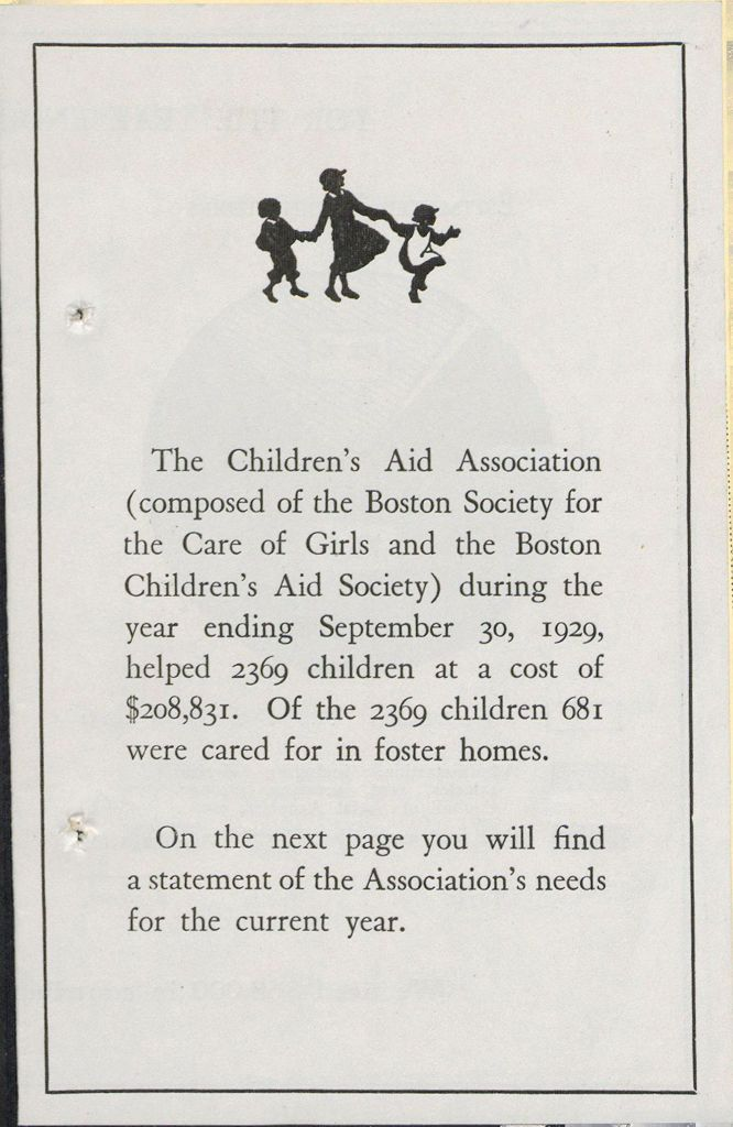 Charity, Organizations: United States. Massachusetts. Boston. Publicity For Social Work. Leaflets & Folders: The Children's Aid Association (Composed Of The Boston Society For The Care Of Girls And The Boston Children's Aid Society)
