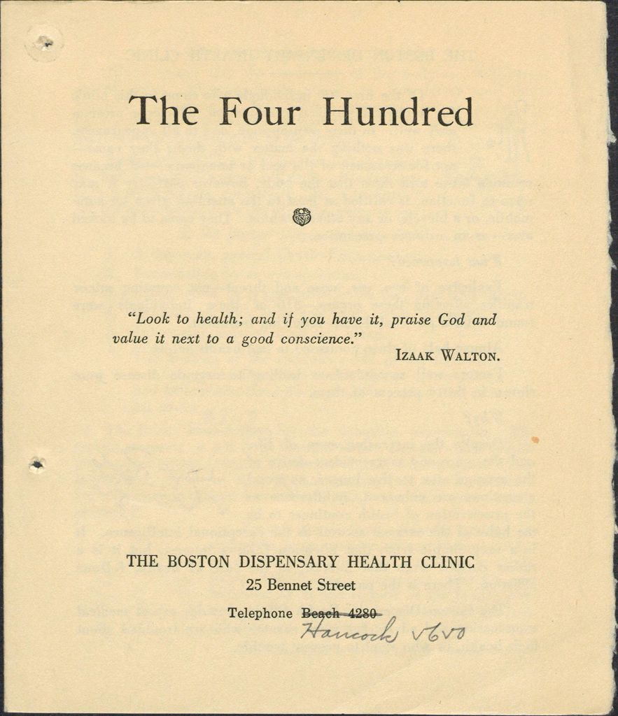 Charity, Organizations: United States. Massachusetts. Boston. Publicity For Social Work. Leaflets & Folders: The Four Hundred: The Boston Dispensary Health Clinic