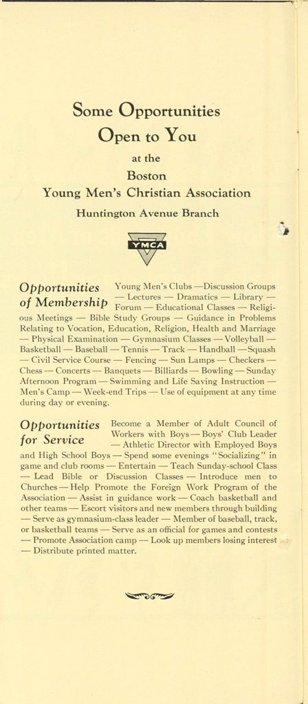 Charity, Organizations: United States. Massachusetts. Boston. Publicity For Social Work: Booklets: How Thousands Of Men Make Their Leisure Hours Count!: Some Opportunites Open To You At The Boston Young Men's Christian Association