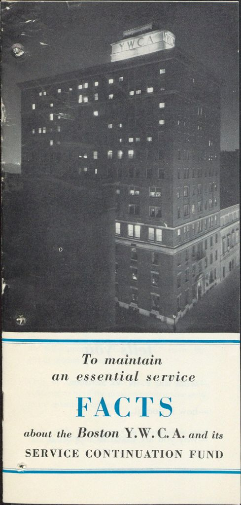 Charity, Organizations: United States. Massachusetts. Boston. Publicity For Social Work: Booklets: Service Continuation Fund: Boston Y.w.c.a.