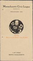 Charity, Organizations: United States. Massachusetts. Boston. Publicity For Social Work: Booklets: Massachusetts Civic League