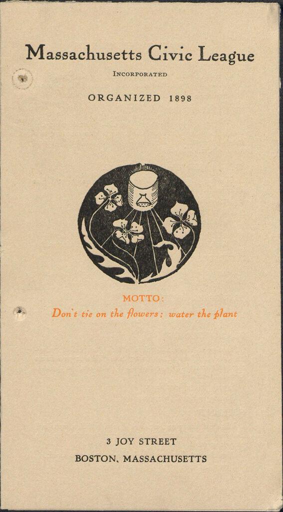 Charity, Organizations: United States. Massachusetts. Boston. Publicity For Social Work: Booklets: Massachusetts Civic League