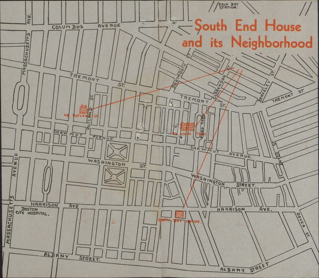 Charity, Organizations: United States. Massachusetts. Boston. Publicity For Social Work: Booklets: South End House And Its Neighborhood