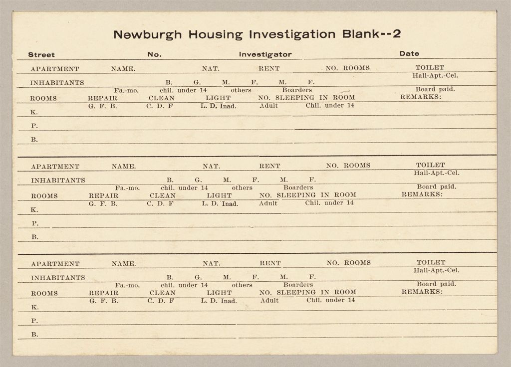 Housing, Government: United States. New York. Newburgh: Schedules Used In Investigation Of Housing Conditions, New York: Newburgh Housing Investigation Blank -- 2