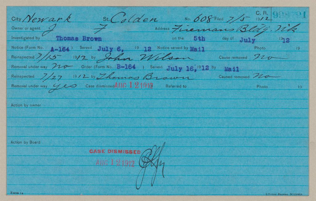 Housing, Government: United States. New Jersey. Newark: Schedules Used By The Board Of Tenement House Supervision Of New Jersey