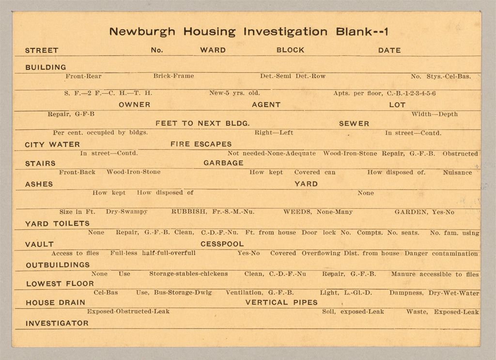 Housing, Government: United States. New York. Newburgh: Schedules Used In Investigation Of Housing Conditions, New York: Newburgh Housing Investigation Blank -- 1