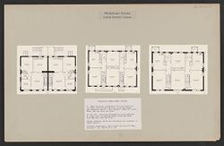 """Housing, Philanthropic: United States. Ohio. Cincinnati. Cincinnati Model Homes Co.: Philanthropic Housing. Limited Dividend Company: Cincinnati Model Homes Company: I. Each building is designed for four families in flats each containing four rooms and baths, and separate stairs.  Cost $4,101.  Size 48' x 30'.  Rent, 50¢ per room per week.  II and III.  Building designed for four families in flats each containing three rooms and bath.  Cost $3,142; size 40' x 30'.  (Note: grading, water and gas mains not included in these costs.)  (Source: Schmidlapp: """"Low Priced Housing for Wage Earners."""" Ho. 451.79.30.1 (L).   Social Museum Collection"""