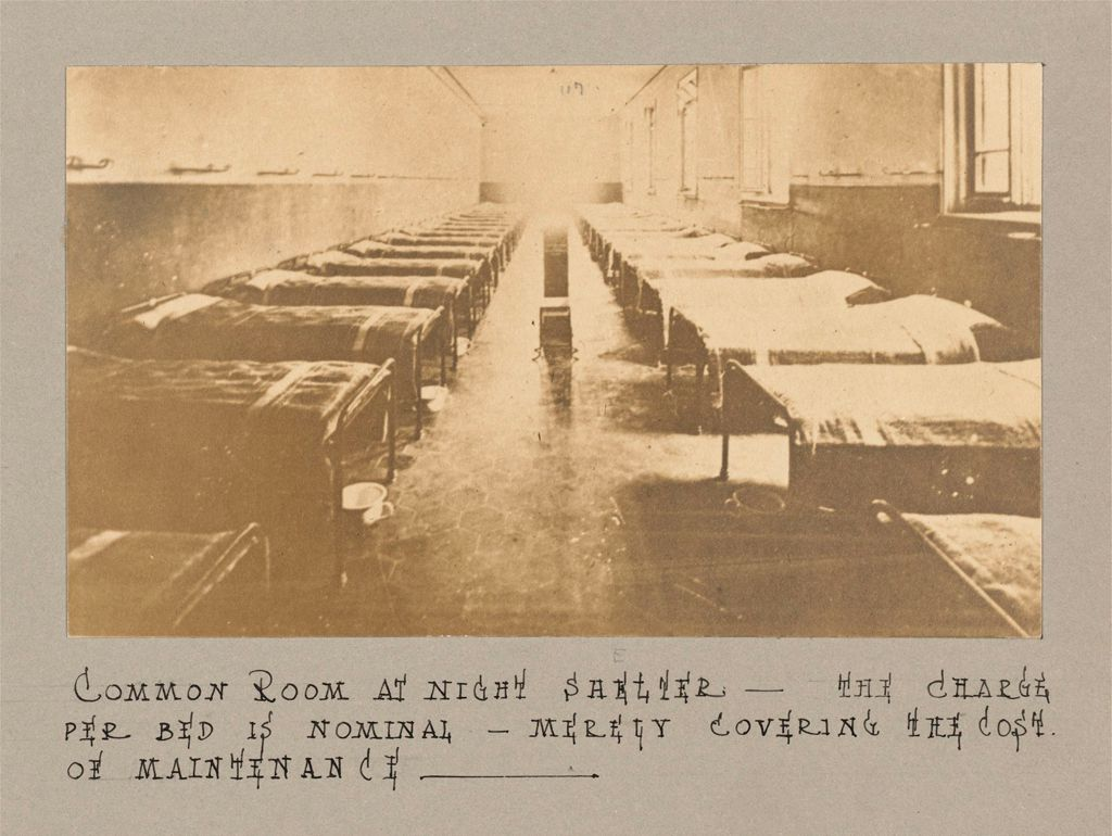 Industrial Problems, Coöperation: Italy. Milan. Coöperative Stores: Coöperative Societies, Italy: Common Room At Night Shelter - The Charge Per Bed Is Nominal - Merely Covering The Cost Of Maintenance.
