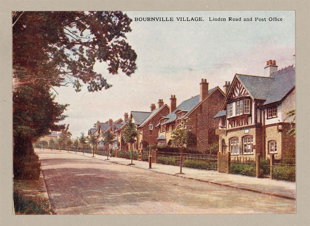 Industrial Problems, Welfare Work: Great Britain. England. Bourneville: Cadbury Bros.: Welfare Institutions And Improved Housing: Improved Workmen's Dwellings: England: Bournville Works And Village, Bournville, England: Cocoa And Chocolate Works Of Cadbury Brothers, Ltd. The Bournville Village Trust: Linden Road And Post Office.