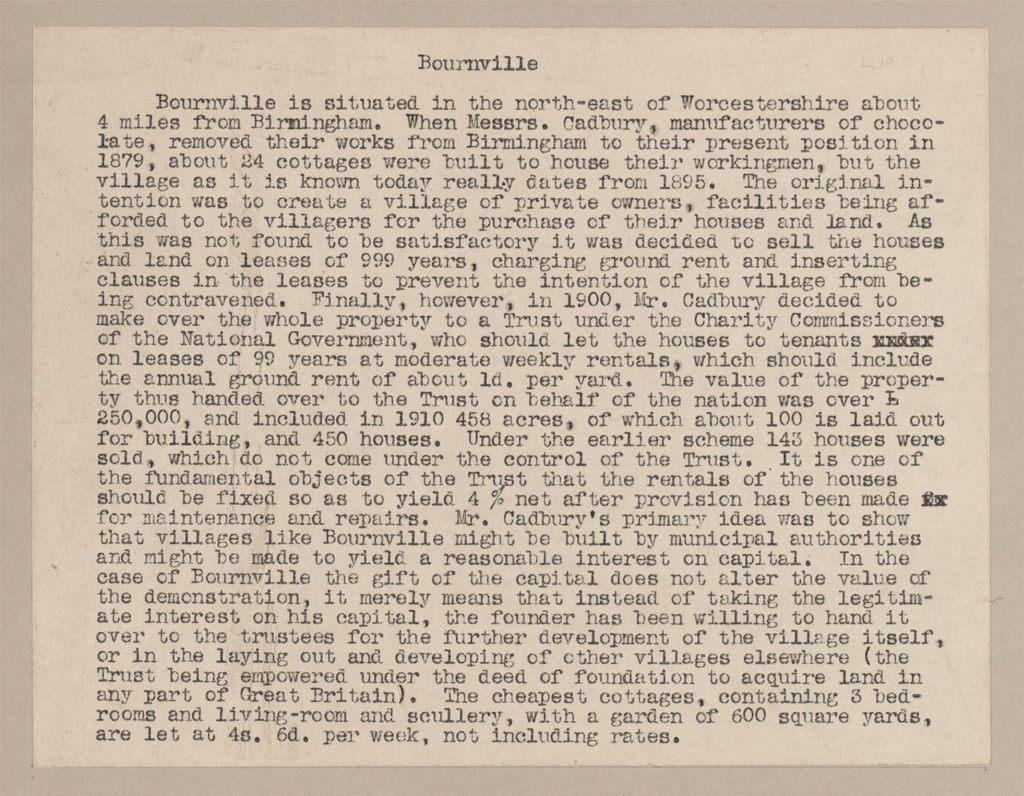 Industrial Problems, Welfare Work: Great Britain, England. Bourneville. Cadbury Bros.: Welfare Institutions And Improved Housing: Welfare Institutions Of Cadbury Bros. (Cocoa And Chocolate Manufacturers), Bournville (Near Birmingham), England. (Given To The Nation In 1900): Statement From The Town Planning Review, April 1910.