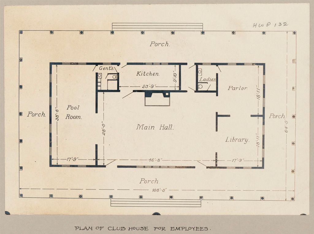 Industrial Problems, Welfare Work: United States. Maryland. Sparrow's Point. Maryland Steel Company: Provision Of Recreational Facilities For Employees: Maryland Steel Company, Sparrow's Point, Maryland: Plan Of Club House For Employees