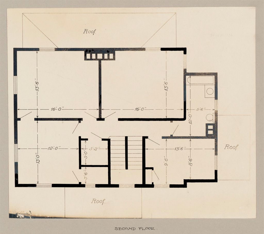 Industrial Problems, Welfare Work: United States. Maryland. Sparrow's Point. Maryland Steel Company: Industrial Betterment In The United States. Housing Of Working People By Employers: Maryland Steel Company, Sparrow's Point, Maryland. House For Employees. Plan L.: Second Floor.