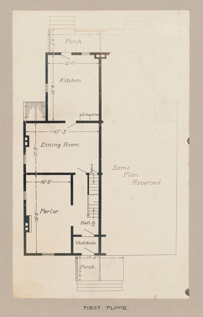 Industrial Problems, Welfare Work: United States. Maryland. Sparrow's Point. Maryland Steel Company: Industrial Betterment In The United States. Housing Of Working People By Employers: Maryland Steel Company, Sparrow's Point, Maryland. House For Employees. Plan H.: First Floor.