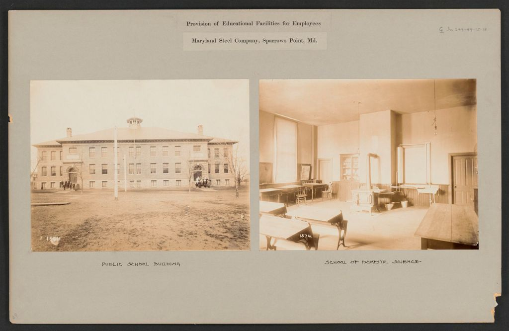 Industrial Problems, Welfare Work: United States. Maryland. Sparrow's Point. Maryland Steel Company: Provision Of Educational Facilities For Employees: Maryland Steel Company, Sparrows Point, Md.