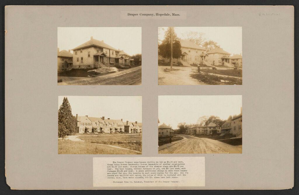 Industrial Problems, Welfare Work: United States. Massachusetts. Hopedale. The Draper Company: Draper Company, Hopedale, Mass.