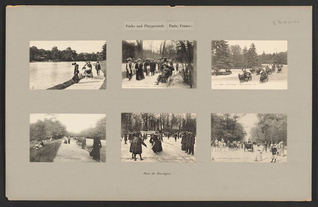 Recreation, Parks And Playgrounds: France. Paris. Luxembourg Gardens; Bois De Boulogne; Boulevards: Parks And Playgrounds Paris, France: Bois De Boulogne.