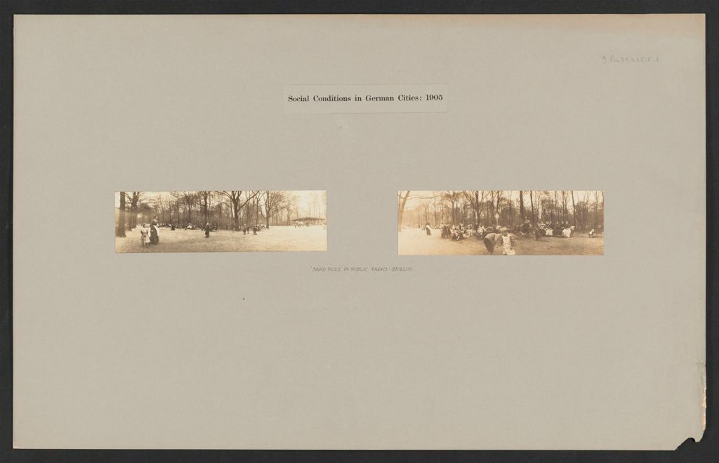 Recreation, Parks And Playgrounds: Germany. Berlin. Sandpiles In Public Park: Social Conditions In German Cities: 1905: