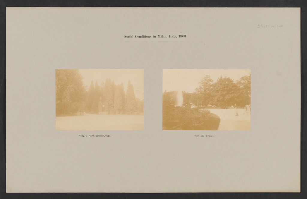 Recreation, Parks And Playgrounds: Italy. Milan. Public Park: Social Conditions In Milan, Italy, 1903