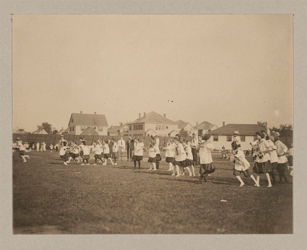 Recreation, Parks And Playgrounds: United States. Massachusetts. Cambridge: Playgrounds. Cambridge, Massachusetts: Competitive Games, Drills, Dances And Races In Which Children Of All Cambridge Playgrounds Took Part. First Municipal Play Festival, Russell Field, 1914.
