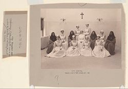 Charity, Hospitals: United States. New York. Ogdensburg. City Hospital and Orphanage: Grey Nuns of the Cross: City Hospital and Orphanage, Ogdensburg, N.Y. (Under the direction of the Grey Nuns of the Cross): City Hospital. Training class of Mary Immaculate 1903..   Social Museum Collection