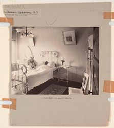 Charity, Hospitals: United States. New York. Ogdensburg. City Hospital and Orphanage: Grey Nuns of the Cross: City Hospital and Orphanage, Ogdensburg, N.Y. (Under the direction of the Grey Nuns of the Cross): A private room in the New City Hospital..   Social Museum Collection