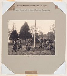Races, Negroes: United States. Virginia. Hampton. Hampton Normal and Industrial School: Agencies Promoting Assimilation of the Negro: Hampton Normal and Agricultural Institute, Hampton, Va.: Basket Ball..   Social Museum Collection